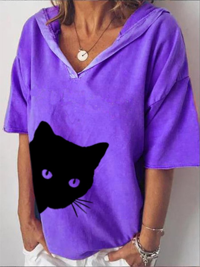 V Neck Cotton-Blend Short Sleeve Casual Shirts & Tops