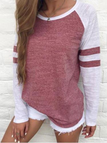 Round Neck Paneled Long Sleeves Casual Shirt