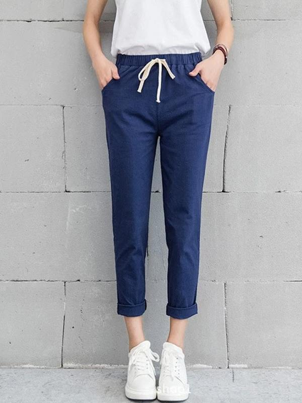 Cotton Linen Pants Ankle Length Haren Pants