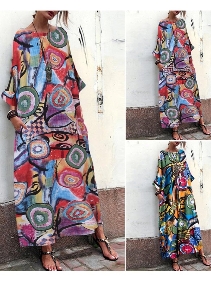 Half Sleeve Cotton-Blend Printed/dyed Dresses