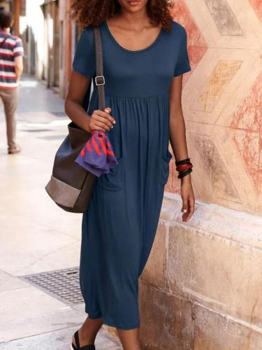 Navy Blue Crew Neck Casual Plain Dresses