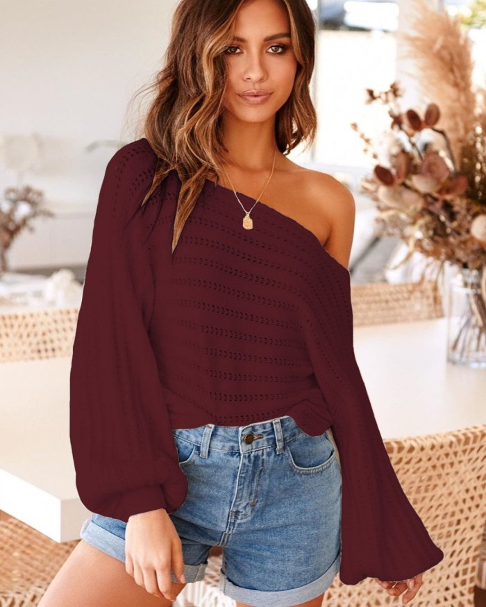 Lantern Sleeve Off Shoulder Pullover Streetwear Sexy Winter Sweater