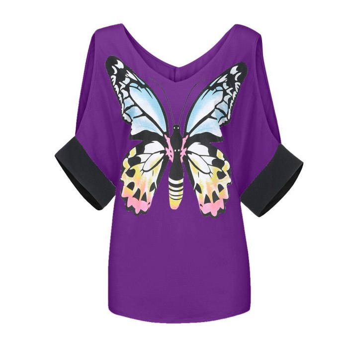 Fashion Butterfly Print Blouse Cold Shoulder Sexy V-Neck Tops Casual Summer Ladies Top