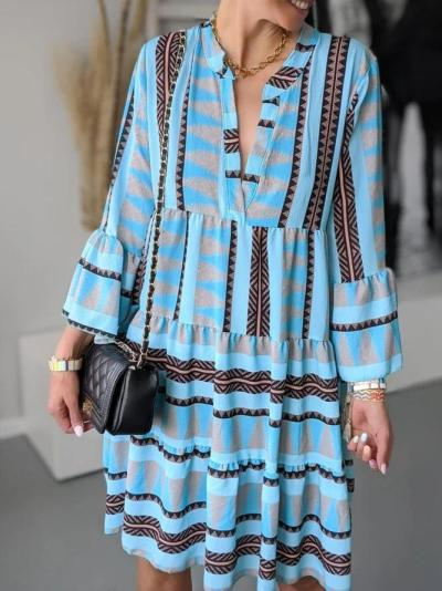 Blue Floral-Print Cotton-Blend V Neck Casual Dresses