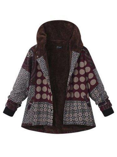 Casual Printed Hooded Coat