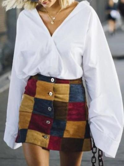 White Casual V Neck Cotton-Blend Plain Shirts & Tops