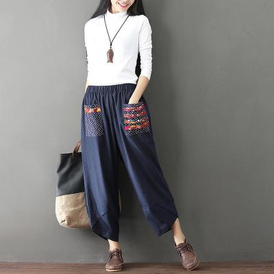 Wide Leg Harem Pants Trousers Women Ethnic Vintage Elastic Waist Loose Long Cotton Linen Pants