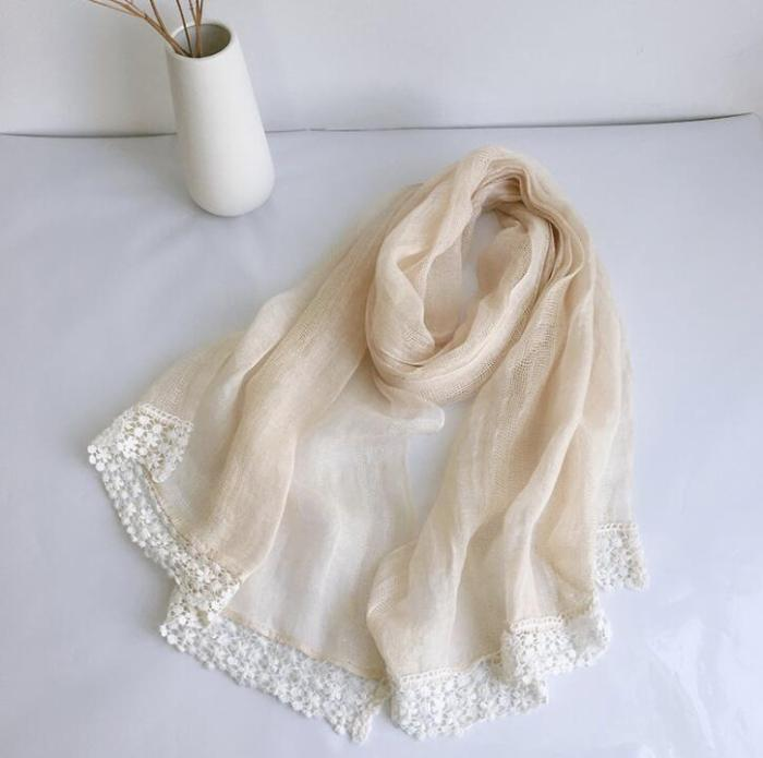 Japanese style free shipping 100% linen lace scarves ladies spring autumn travel sunscreen shawl breathable thin scarves
