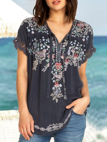 Casual Short Sleeve Cotton-Blend Shirts & Tops
