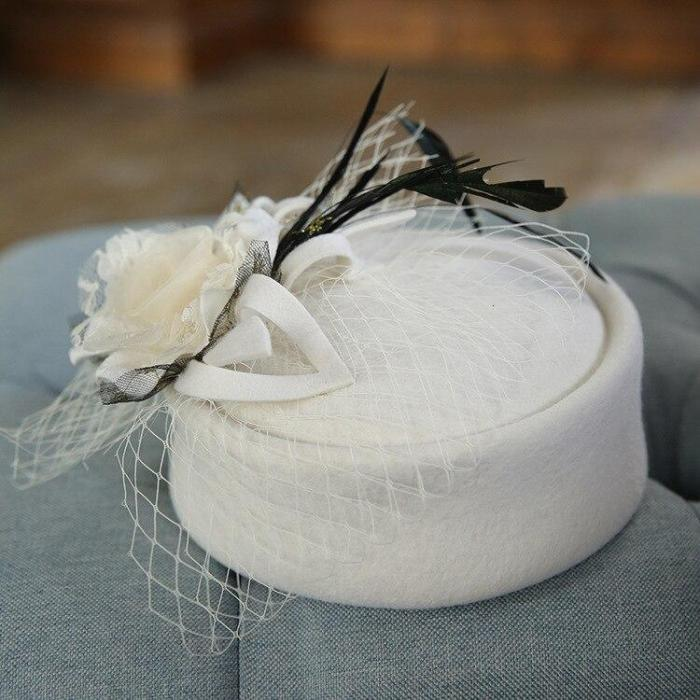 Noble Wool Fedoras Hat for Women Hat Fashion Bow-Knot Cap Vintage Elegant Female Cap