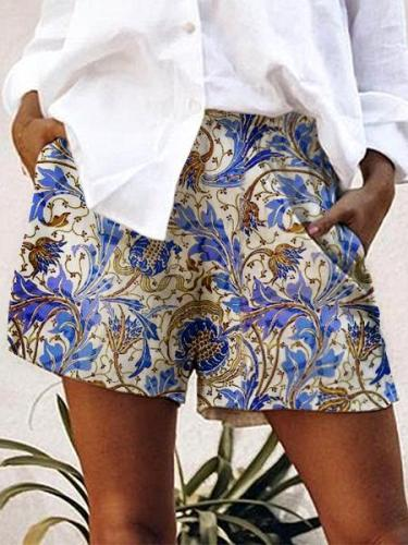 Tribal-Printed Casual Shorts
