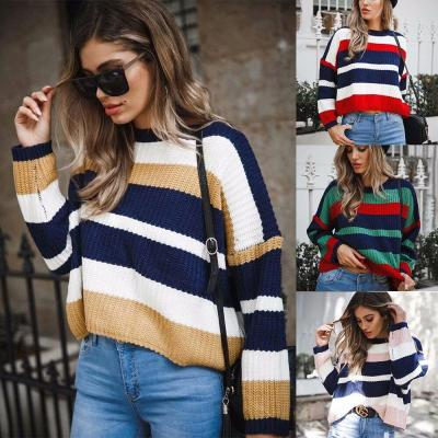 Women's Loose Plus Size Striped Colorblock Sweater In Autumn and Winter Sweaters Womens Sweaters Sweaters Sweater Women