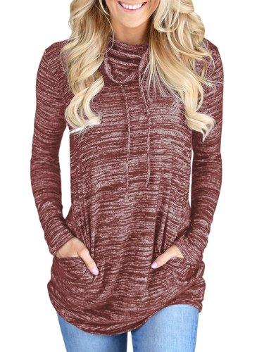 Cowl Neck Long Sleeve Spandex Pockets Women Clothing