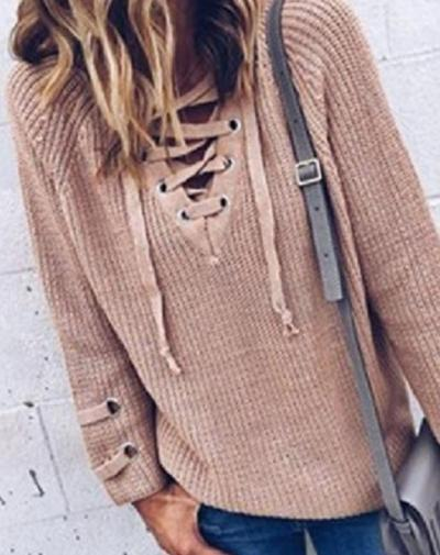2020 Autumn Pullovers Women Knitted Lace-up Sweater Striped Bandage Cross Ties Knitwear V Neck Loose Casual Long Jumper Womens
