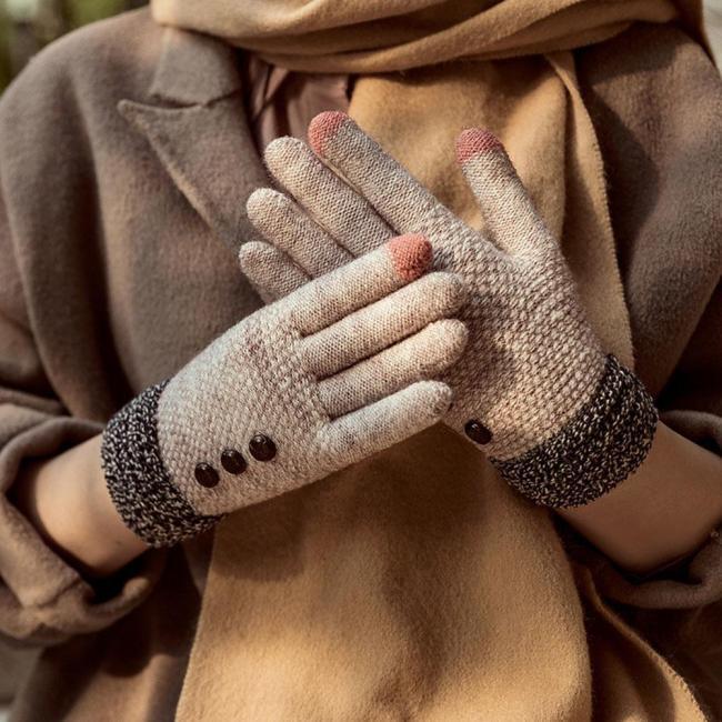 Korean Cold Winter Women Touch Screen Knit Gloves Plus Velvet Thick  Riding Outdoor Full Finger Mittens Gift
