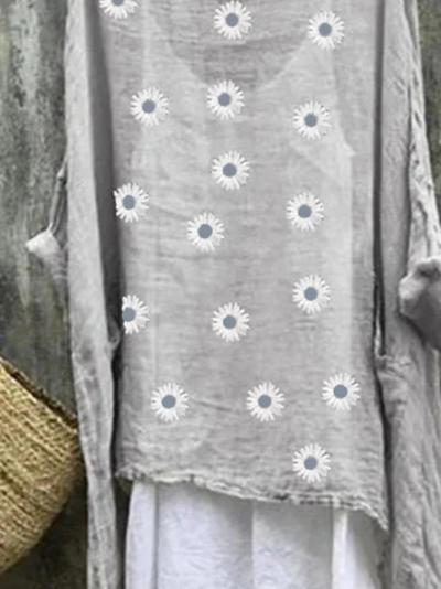 Plus Size Casual Long Sleeve Casual Floral Dresses