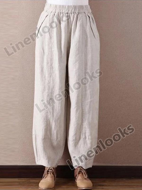 Linen Wide Leg Pants Loose Elastic Waist Trousers Casual Bloomers