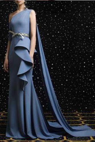 Elegant Vintage One Shoulder Sleeveless Irregular Falbala Plain Evening Dress