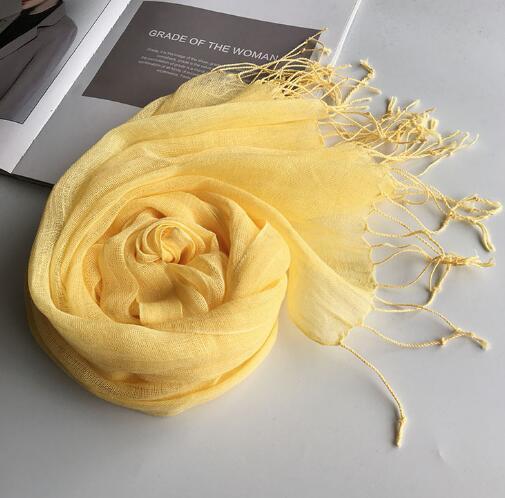 55*180cm Fashion Soft Solid Women 100% Linen Flax Tassel Scarf Summer Travel Sunscreen Long Shawl Elegant Hijab