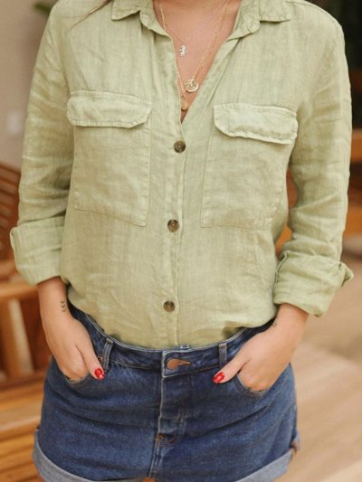 Casual V Neck Long Sleeve Solid Shirts
