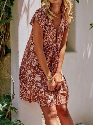 Red Casual Floral-Print V Neck Dresses