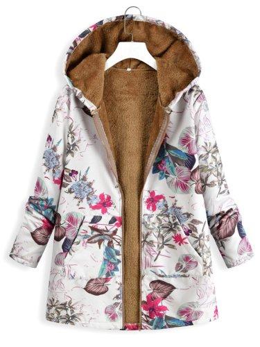 Plus Size Floral Printed Casual Hoodie Coat