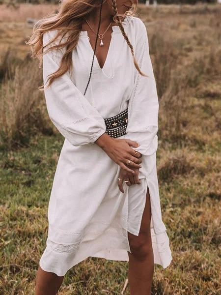White V Neck Casual Plain Dresses