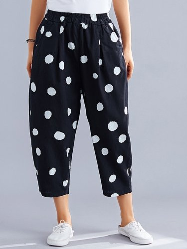 Women Polka Dots Casual Pants