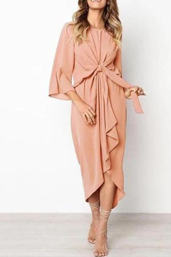 Elegant Pure Color Bow Long Sleeve Evening Dress