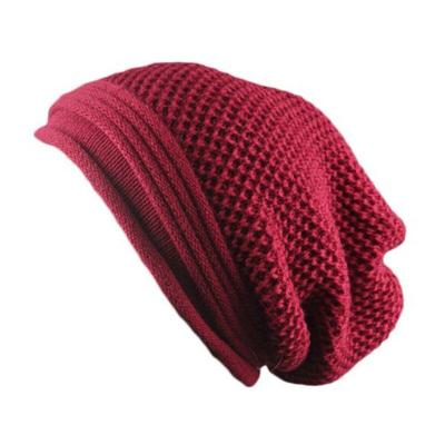 Pure Color Fold Knitted Caps Winter Beanies Acrylic Hats for Women and Men