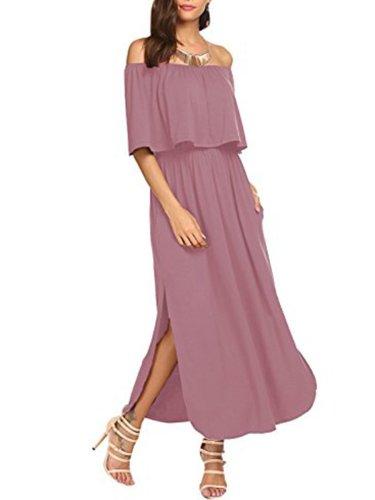 Off Shoulder  Plain Maxi Dress
