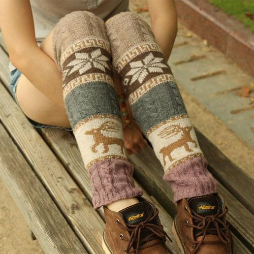 Fashion Leg Warmers Women Printed embroidery Warm Knee Crochet Warm Boot Cuffs Long Socks