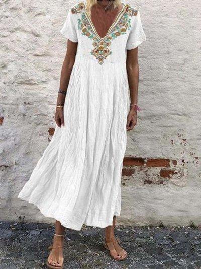 Bohemian Floral-Printed Midi Holiday Dress