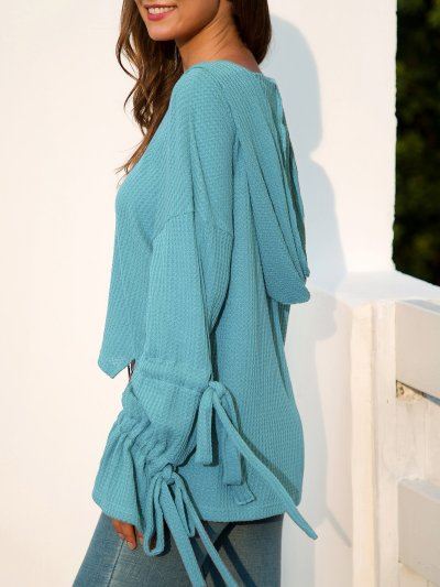 Knitted Casual Bell Sleeve Solid Hooded Sweaters