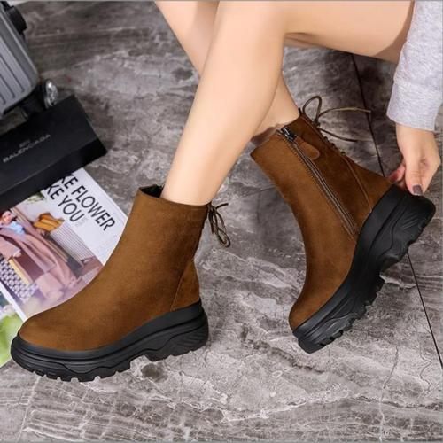 Womens Daily Flat Heel Artificial Suede Lace-up Boots Winter Snow Booties