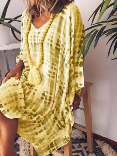 V Neck Printed Vintage Dresses