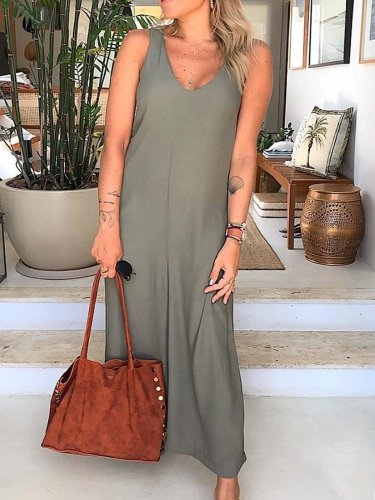 Plus Size Casual V Neck Solid Sleeveless Dresses
