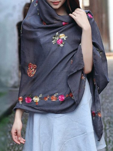 Casual Floral Embroidered Scarf