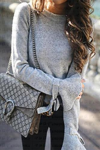 Solid Bell Sleeve Soft Pullover Sweater