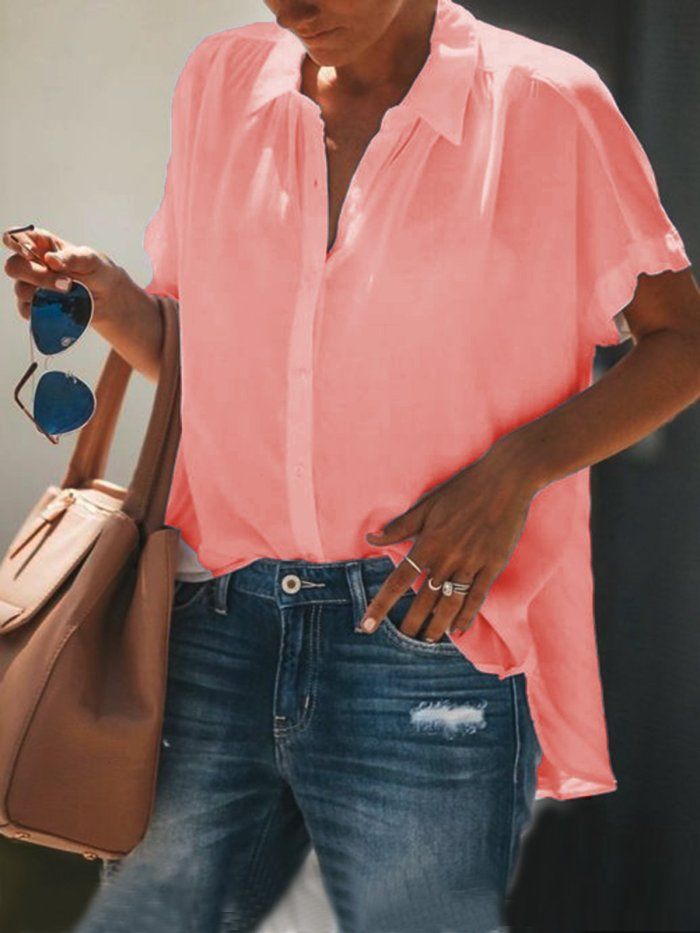 Cotton-Blend Short Sleeve Casual Shirts & Tops