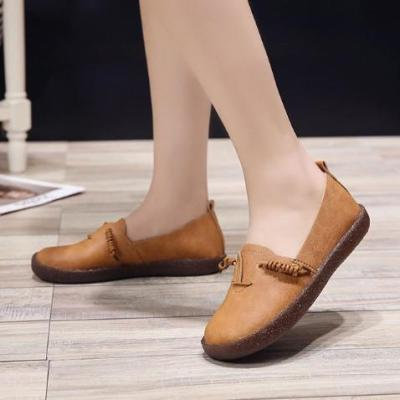 Brown Daily Spring/Fall Flat Heel PU Loafers