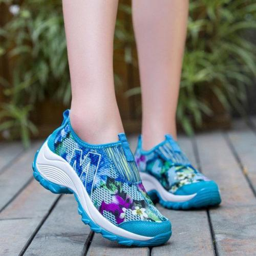 Flower Mesh Breathable Platform Rocker Sole Casual Shoes