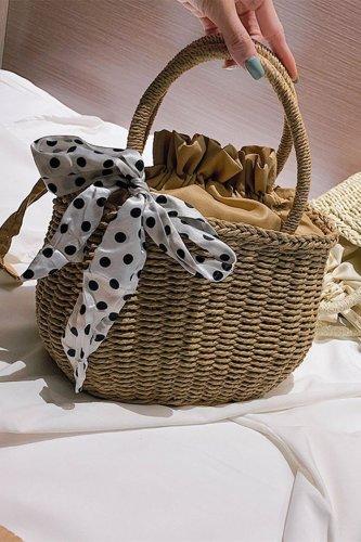 Women's Summer Beach  Woven Straw Pull Rope Handbag