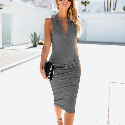 Fashion V Neck Sleeveless Pure Colour Bodycon Dresses