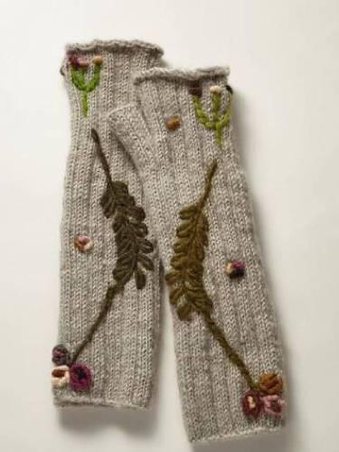 Light Gray Knitted Tribal Gloves & Mittens