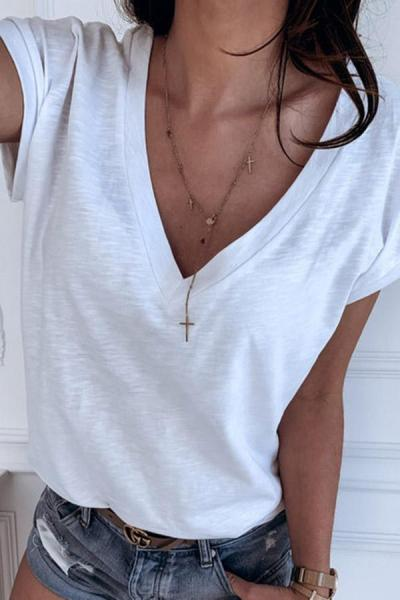 Solid V-neck Casual T-shirts