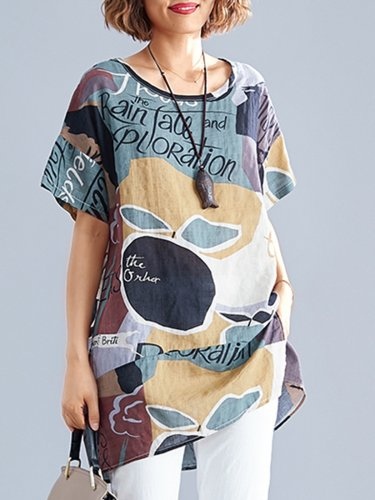 Plus Size Women Short Sleeve Round Neck Vintage Floral Casual Tops