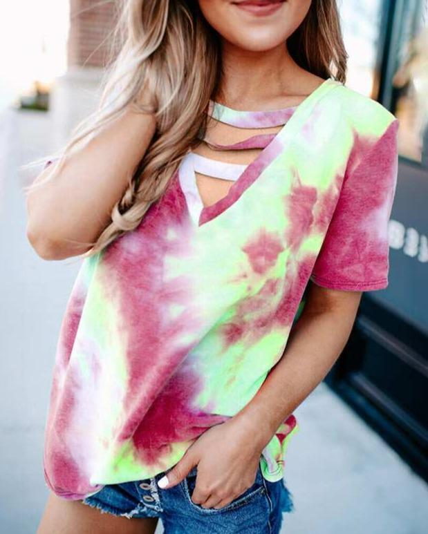 2020 Casual Outfits Women T-shirts Tie Dye Printing T-shirt Plus Size Short Sleeve T shirt Fashion Loose V Neck Tees Tops