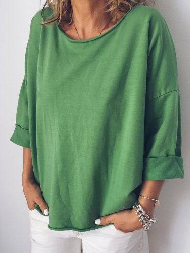 Long Sleeve Round Neck Casual Solid Shirts & Tops