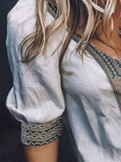 Half Sleeve Tribal Printed/dyed V Neck Casual Tops